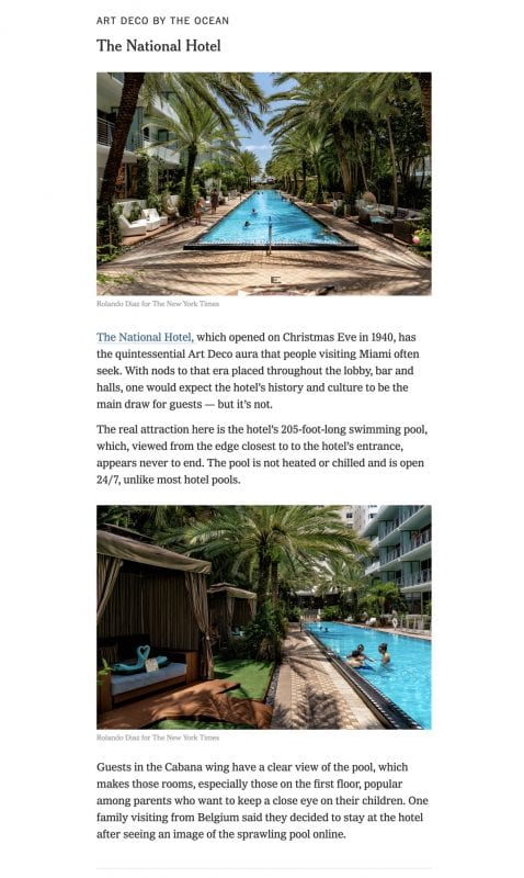 National Hotel Miami Beach New York Times Article