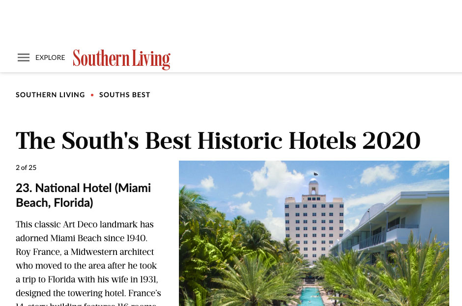 Southern Living National Hotel Historic Hotels