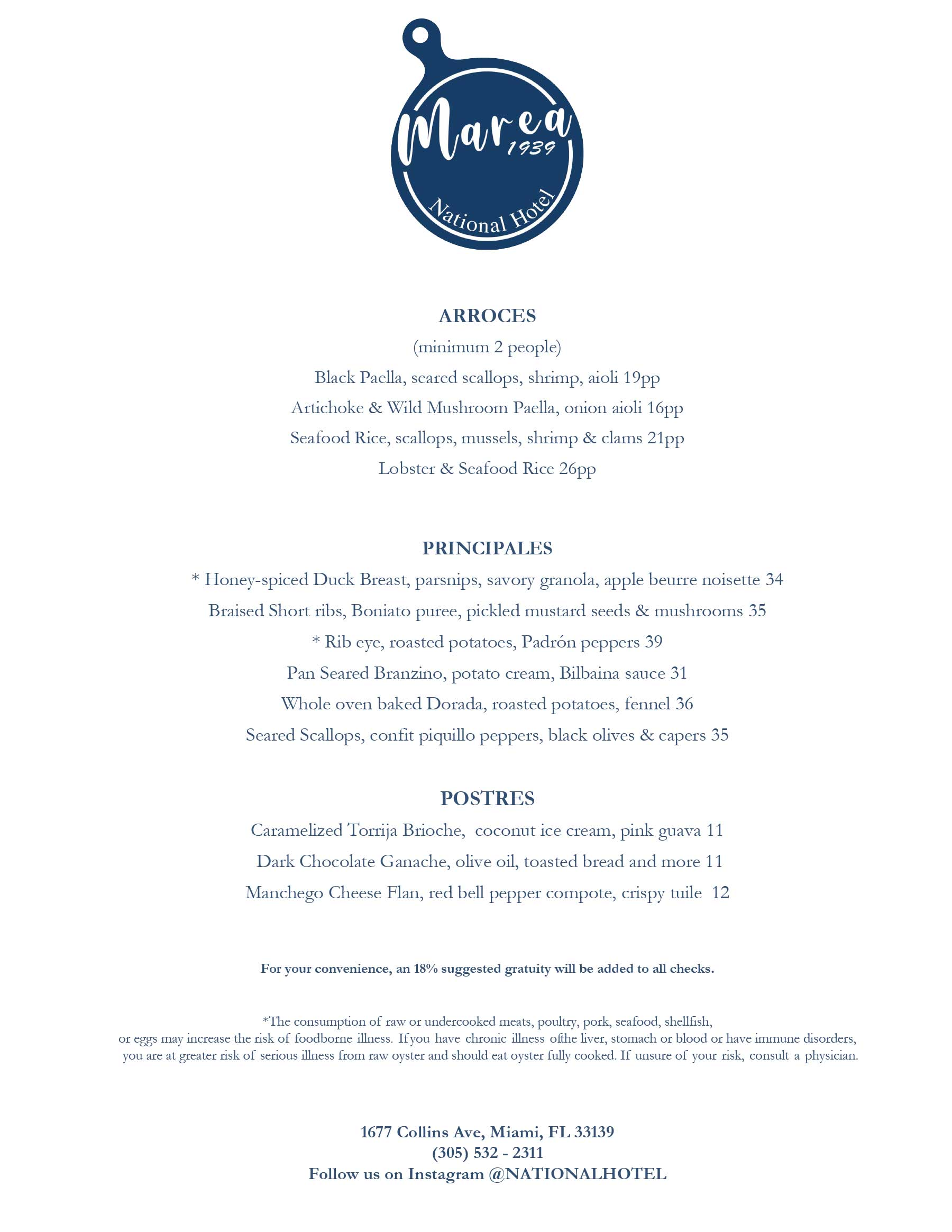 Marea at The National Hotel Dinner Menu